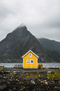 Norway, Lofoten, remote yellow house at rocky coast - KKAF01868