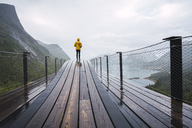 Norway, Senja island, rear view of man standing on an observation deck at the coast - KKAF01907