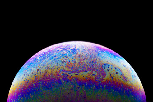 Shimmering surface of a soap bubble, close-up - DRBF00099