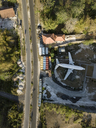 Indonesia, Bali, Aerial view of airplane near the road - KNTF01584