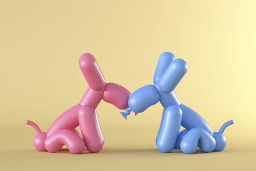 3D Rendering, Two balloon dogs kissing in front of yellow background - AHUF00529
