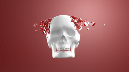 3D Rendering, Skull bursting into pieces in front of red background - AHUF00532