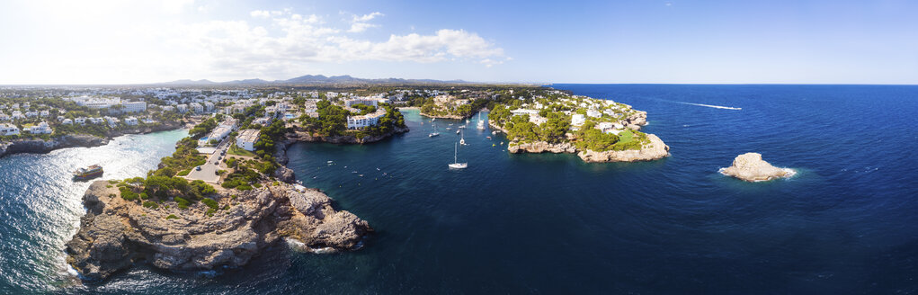 Spain, Mallorca, Portocolom, Aerial view of Cala d'Or and bay Cala Ferrera - AMF05928