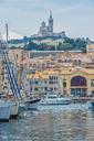 France, Provence-Alpes-Cote d'Azur, Marseille, old harbour, National Theater La Criee and Basilique Notre-Dame de la Garde - FR00736