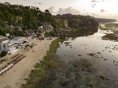 Indonesia, Bali, Aerial view of Bingin beach in the evening - KNTF01709