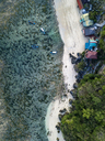Indonesia, Bali, Padang, Aerial view of Thomas beach, Banca boats - KNTF01773