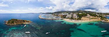 Spain, Balearic Islands, Mallorca, Aerial view of Portals Nous, Harbour Puerto Portals, beach Platja de S'Oratori and Illa d'en Sales - AMF05936