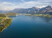 Austria, Salzkammergut, Sankt Wolfgang, Aerial view of Lake Wolfgangsee - JUNF01283
