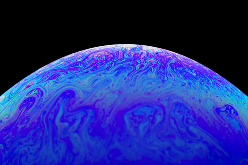 Surface of blue pink soap bubble, close-up - DRBF00109