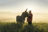 Italy, Tuscany, Borgo San Lorenzo, senior man standing with donkey in field at sunrise above rural landscape - FBAF00098