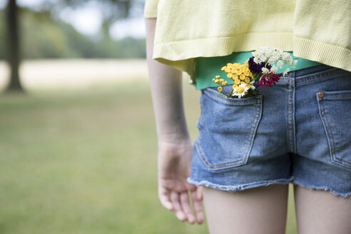Flowers in pocket of girl's jeans shorts - PSTF00255