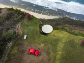 Indonesia, Bali, Aerial view of Nyang Nyang beach, VW beetle and observation point - KNTF01796