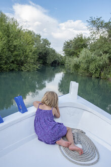 Rear view of girl on a boat trip - PSIF00096