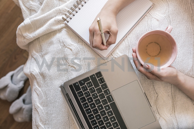 Woman with cup of tea and laptop working at home, partial view - FLMF00064