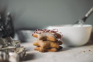 Stack of star-shaped Christmas Cookies - MOMF00494