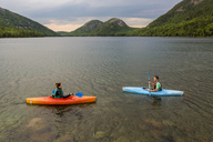Couple kayaking on Jordan Pond in Acadia National Park, Maine, USA - AURF06168