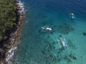 Indonesia, Bali, Aerial view of Blue Lagoon beach, banca boats - KNTF01813