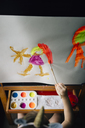 High angle view of girl painting on canvas at home - CAVF48819