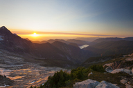 Tranquil view of mountain ranges against sky during sunrise at North Cascades National Park - CAVF48879