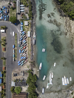 Indonesia, Bali, Aerial view of Padangbai, port from above - KNTF01851