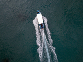 Indonesia, Bali, Aerial view of excursion boat - KNTF01869