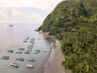 Indonesia, Bali, Aerial view of banca boats and beach - KNTF01875