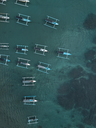 Indonesia, Bali, Aerial view of banca boats - KNTF01881