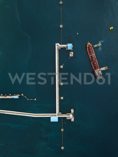 Indonesia, Bali, Aerial view of tanker ship - KNTF01896