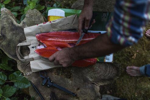 Man filleting freshly caught salmon, Desolation Sound, Cortes Island, British Columbia, Canada - AURF07090