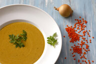 Dish of red lentil soup - JTF01085