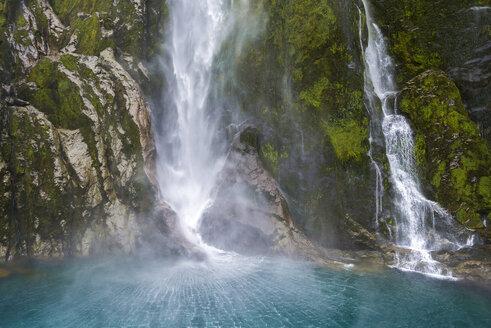 New Zealand, South Island, Stirling Falls at Milford Sound, Fjordland National Park - MKFF00399