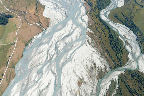 New Zealand, South Island, Otago, Wanaka, Aerial view of Matukituki river - MKFF00417