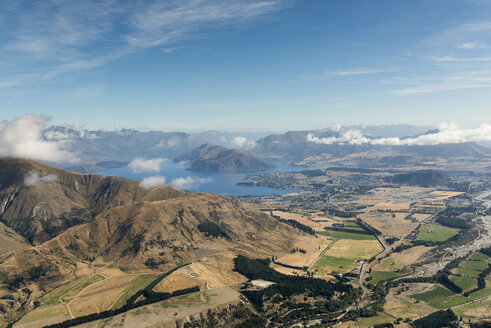 New Zealand, South Island, Otago, Aerial view of Lake Wanaka and Township - MKFF00420