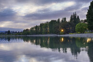New Zealand, South Island, Shore of Lake Wanaka with sun shining through trees - RUEF01980