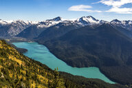Scenic view of Cheakamus Lake and surrounding mountains, Whistler, British Columbia, Canada - AURF07548