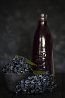 Blue grapes in front of dark background and a bottle of grape juice - JES00182