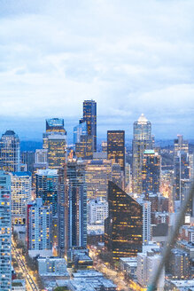 USA, Washington State, Seattle, Skyline, Downtown in the evening - MMAF00575