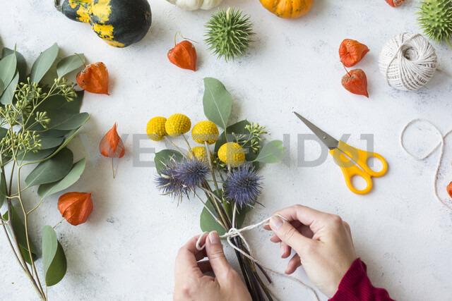 Autumnal decoration, ornamental pumpkins, woman's hand binding bunch of flowers - JUNF01327 - JLPfeifer/Westend61