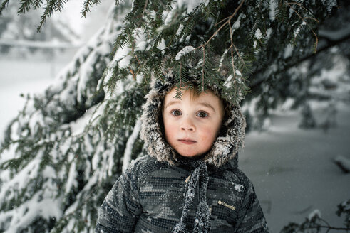 Portrait of boy standing in forest during winter - CAVF49076