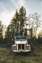 Broke vintage truck standing in meadow - KKAF02189