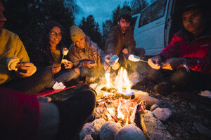 Group of friends sitting at a campfire, roasting marshmallows - KKAF02294