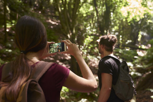 Spain, Canary Islands, La Palma, woman taking a cell phone picture of her boyfriend in a forest - PACF00158