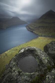 Scenery with mountains and sea, Funningur, Faroe Islands - AURF07702