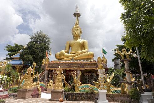 Thailand, Ubon Ratchathani, Wat Tai, Sitting buddha statue - ZC00680