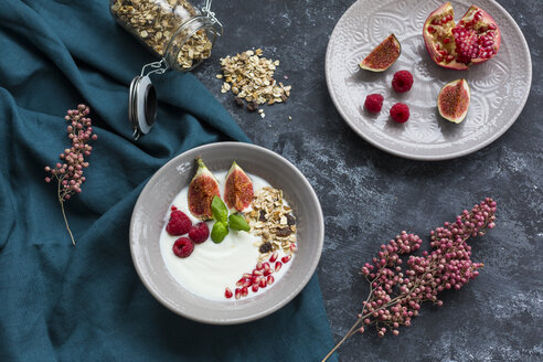 Bowl of natural yoghurt with fruit muesli, raspberries, figs and pomegranate seed - JUNF01430