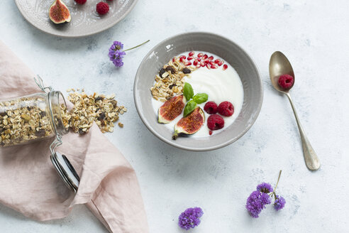 Bowl of natural yoghurt with fruit muesli, raspberries, figs and pomegranate seeds - JUNF01433
