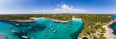 spain, Balearic Islands, Mallorca, Aerial view of Cala Mondrago and Playa Mondrago, Mandrago Nature Park - AMF06004