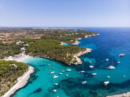 spain, Balearic Islands, Mallorca, Aerial view of Cala Mondrago and Playa Mondrago, Mandrago Nature Park - AMF06007