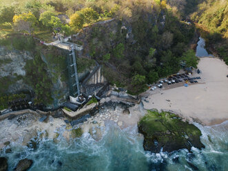 Indonesia, Bali, Aerial view of lift and beach - KNTF02032