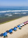 Indonesia, Bali, Aerial view of Balangan beach, sunloungers and beach umbrellas - KNTF02053